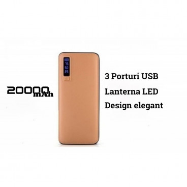 Baterie externa Power Bank 20.000 mAh cu 3 USB